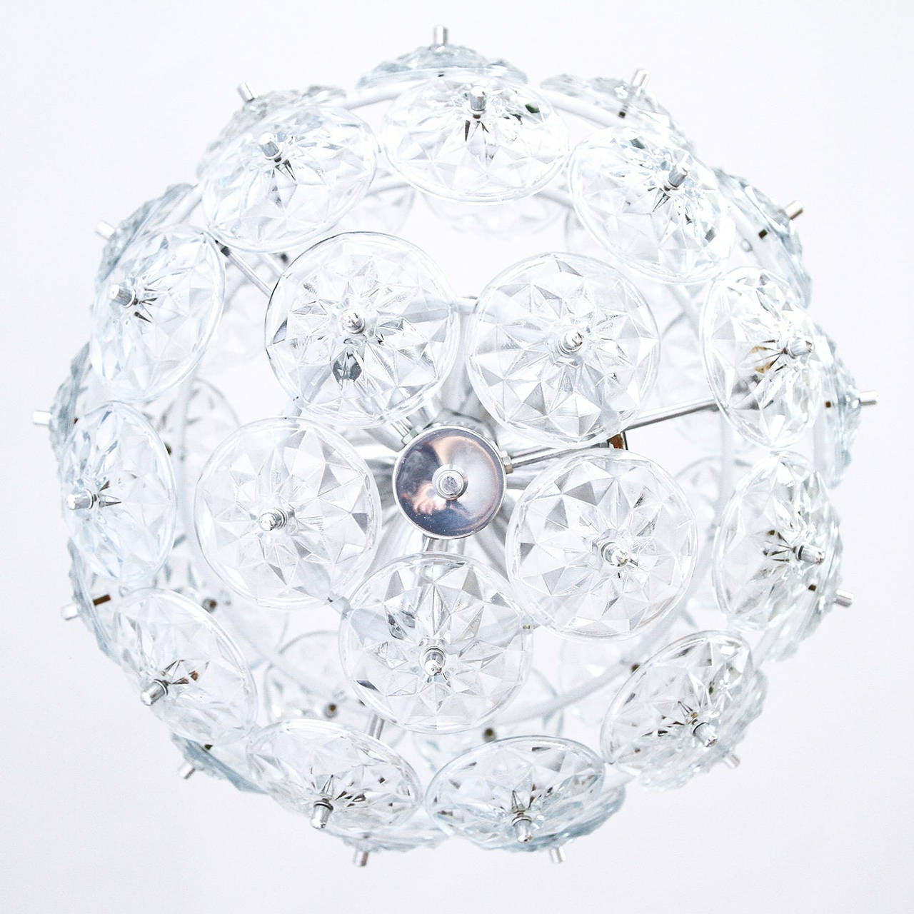German Sputnik Chandelier Kinkeldey Style, Glass Chrome, 1960s For Sale