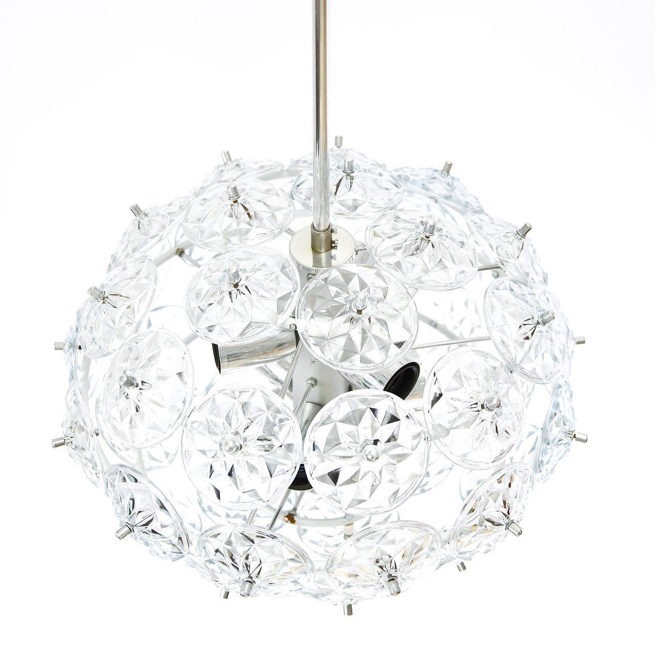 Mid-Century Modern Sputnik Chandelier Kinkeldey Style, Glass Chrome, 1960s For Sale