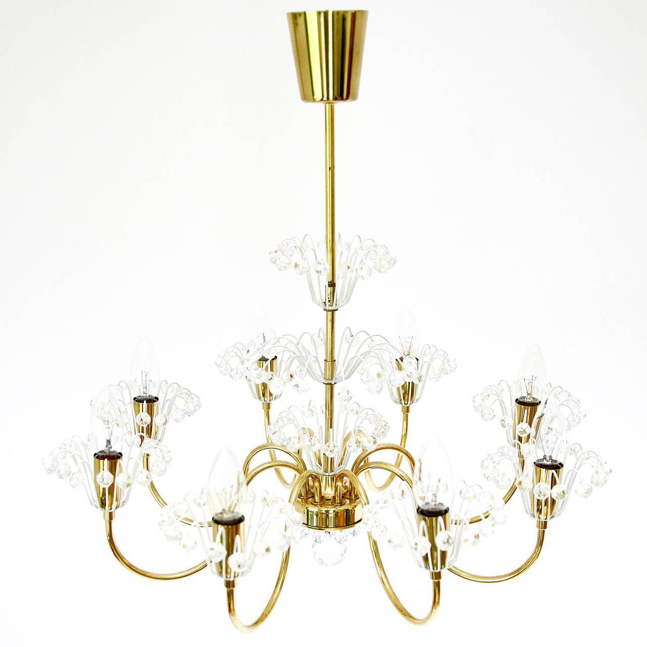 Mid-Century Modern Emil Stejnar Chandelier for Rupert Nikoll, Brass and Glass, 1950s For Sale