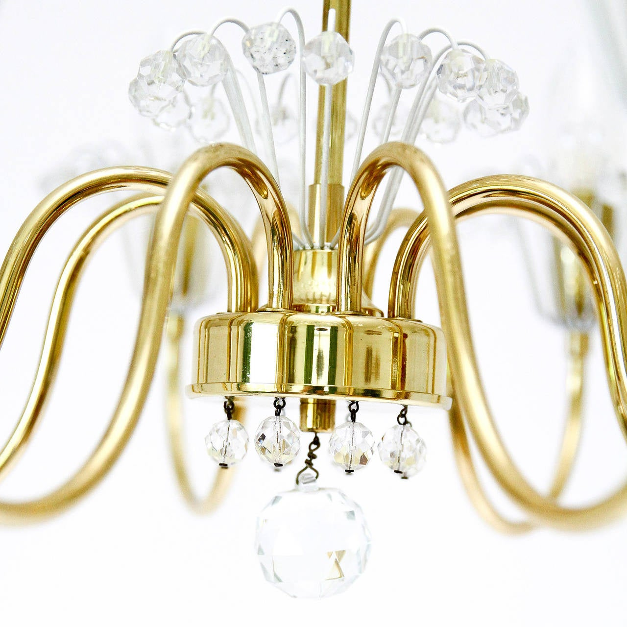 Lacquered Emil Stejnar Chandelier for Rupert Nikoll, Brass and Glass, 1950s For Sale