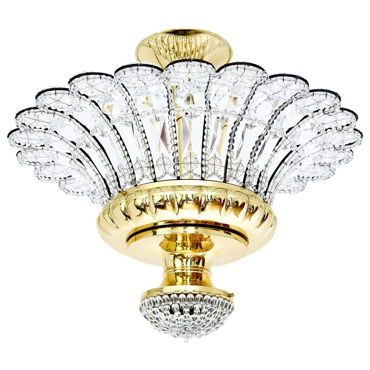 Large Italian Flush Mount Light, Brass and Crystal Glass