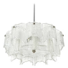 One of Three Kalmar Chandeliers, Nickel Ice Glass, 1970