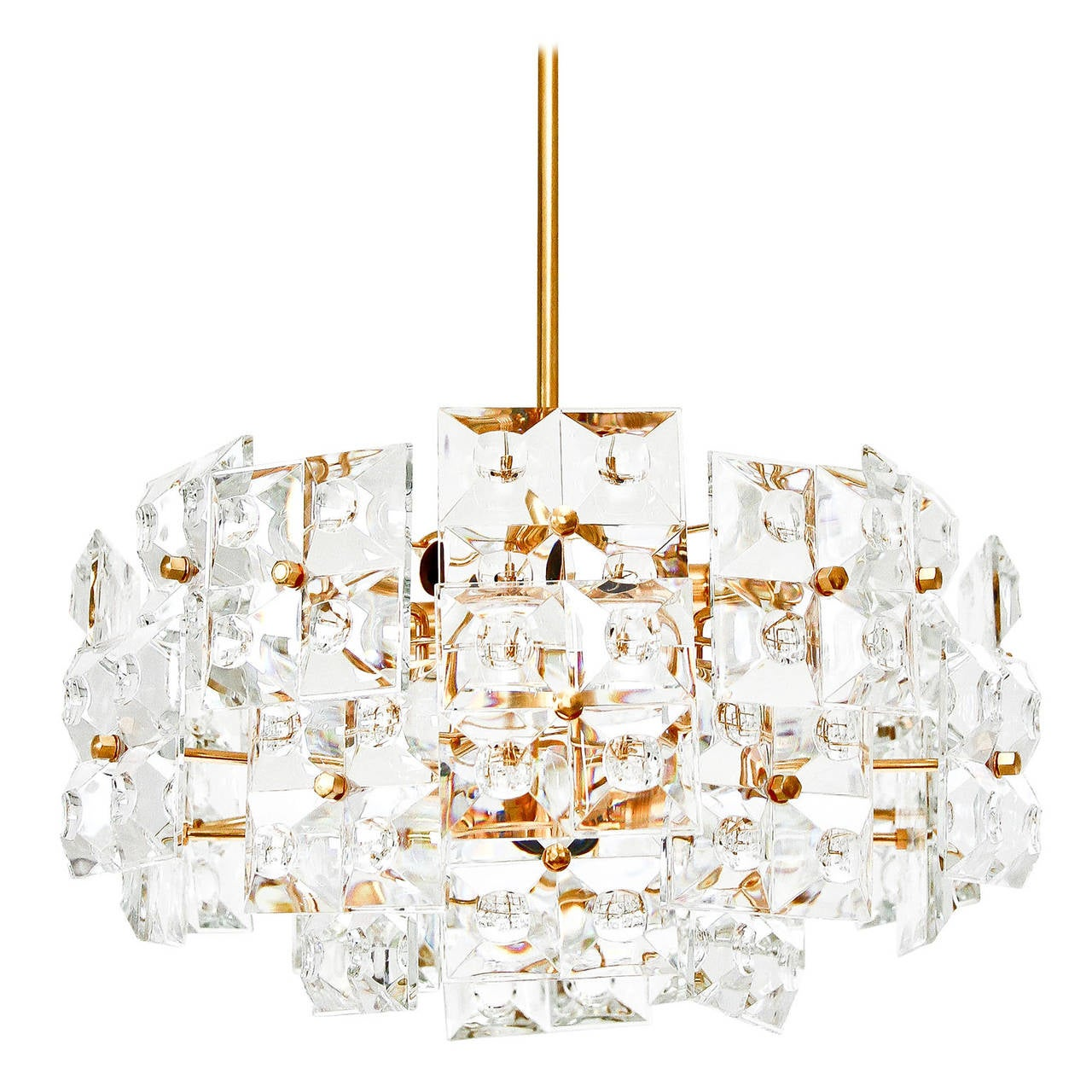 Kinkeldey Chandelier, Gold-Plated Brass Crystal Glass, 1970 For Sale