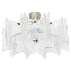 Star-Shaped Flush Mount, Frosted Glass, 1960s