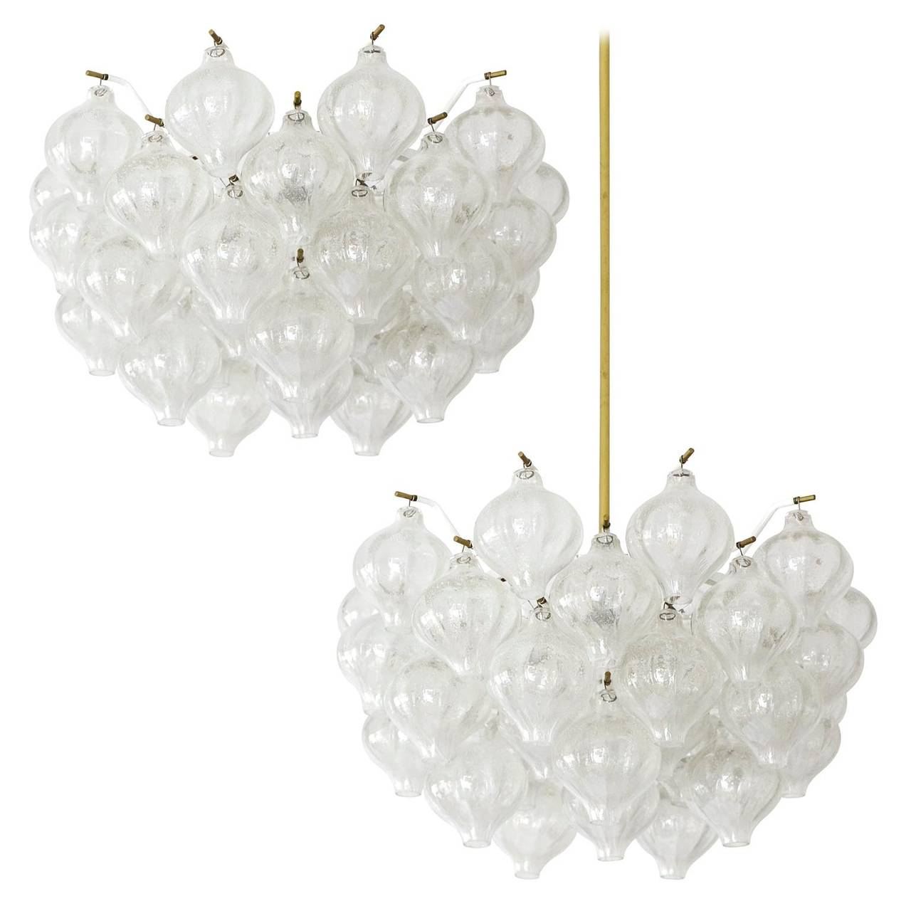Four Two Pairs Quot Tulipan Quot Glass Chandeliers Or Flush