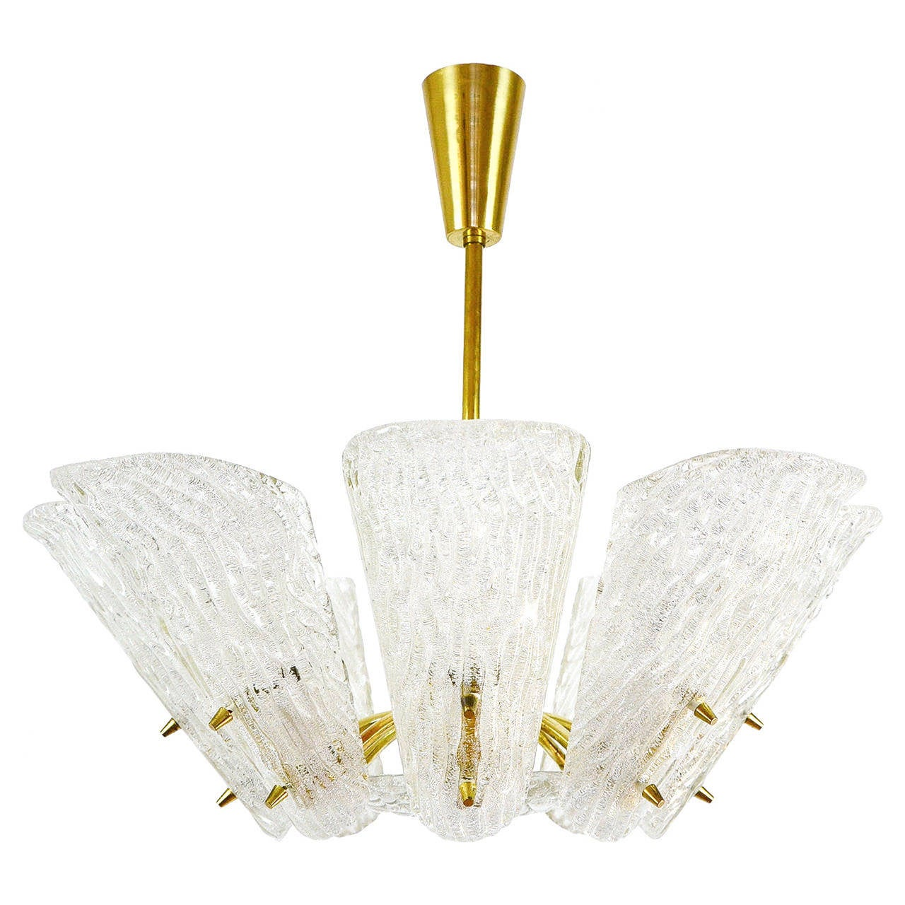 Brass and Textured Glass Eight-Arm Chandelier by Kalmar, 1950s