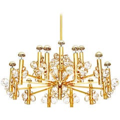 Large Bakalowits Style Chandelier, Gold-Plated Brass, 1970