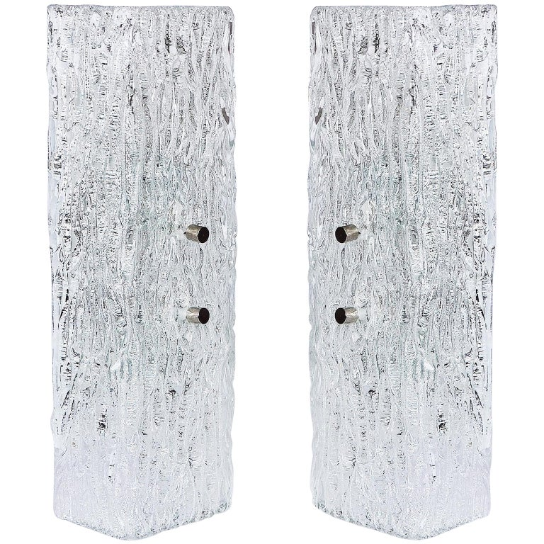 Pair of Kalmar Glass Sconces or Wall Lights, 1950s For Sale
