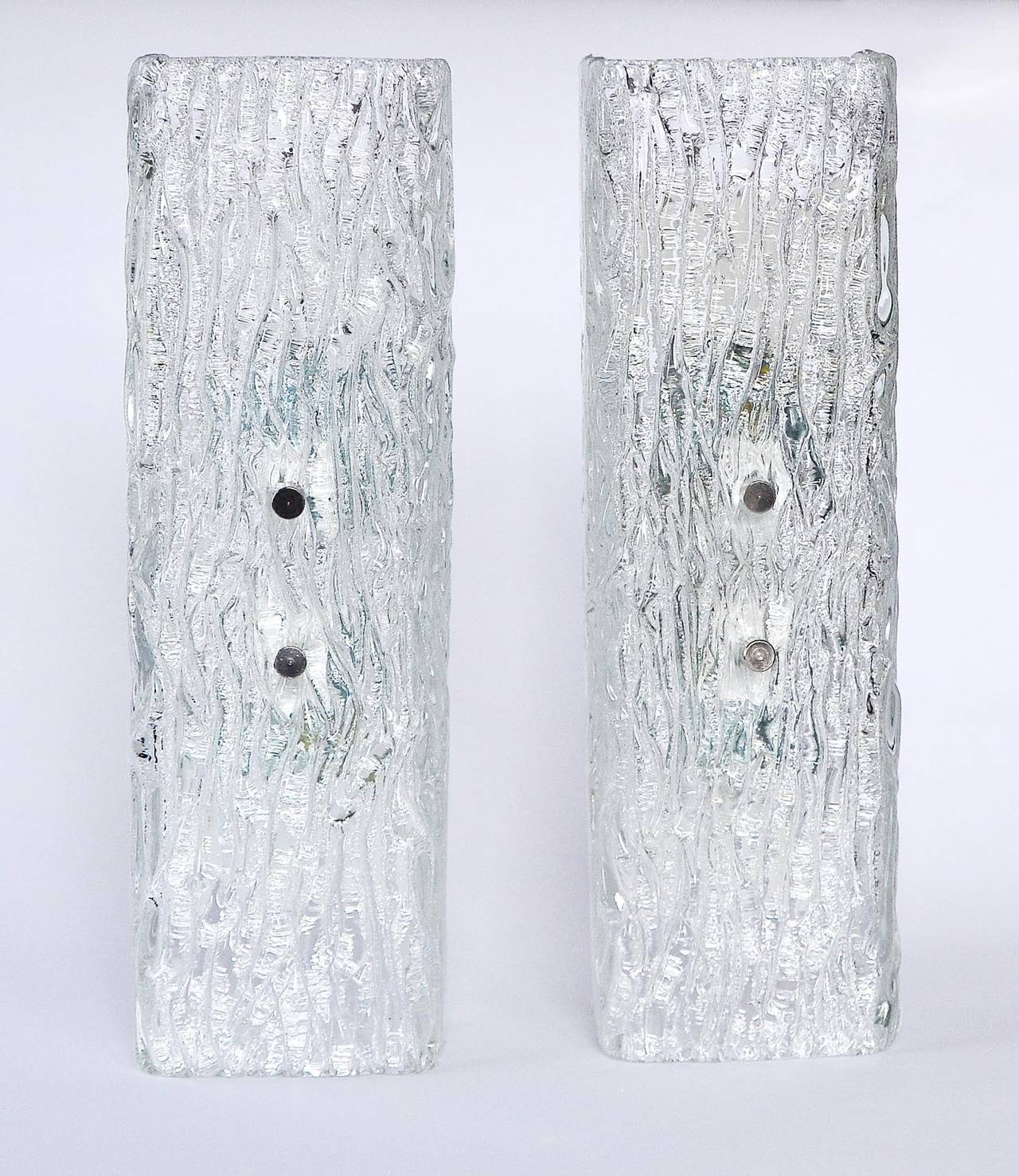 Mid-Century Modern Pair of Kalmar Glass Sconces or Wall Lights, 1950s For Sale