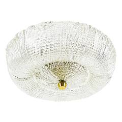 Textured Glass And Brass Ceiling Lamp Flush Mount by Kalmar, Austria, 1950s