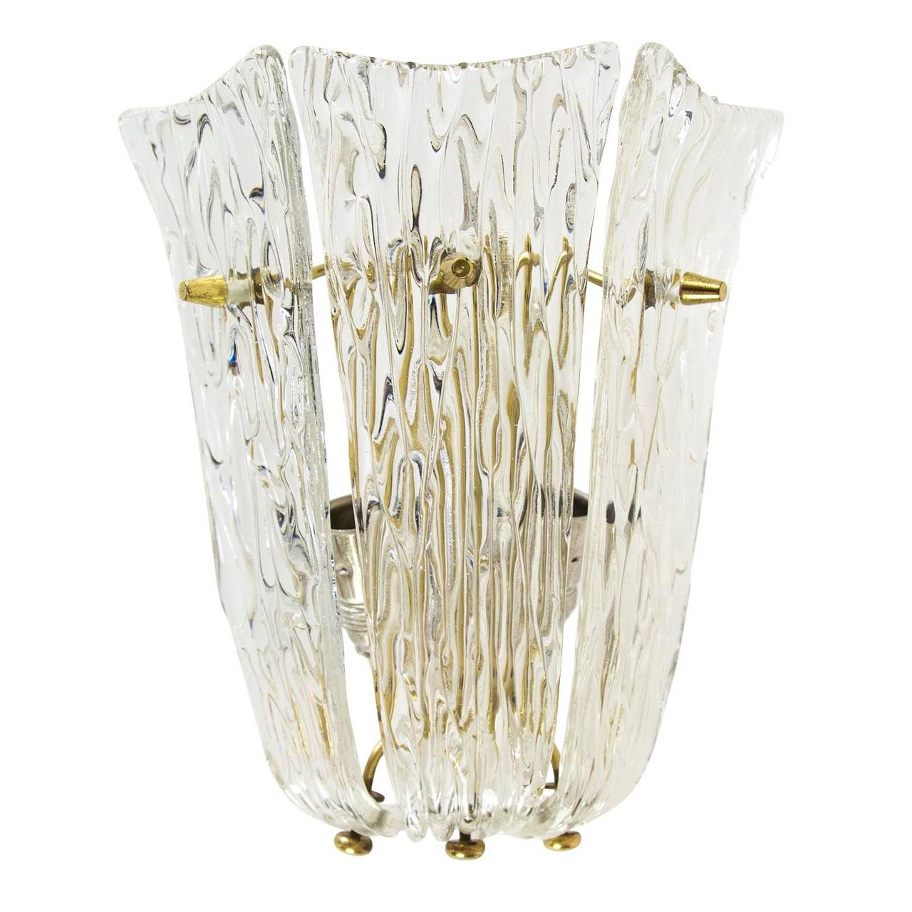 Mid-Century Modern One of Three Textured Glass And Brass Wall Sconces by J.T. Kalmar, 1950s For Sale