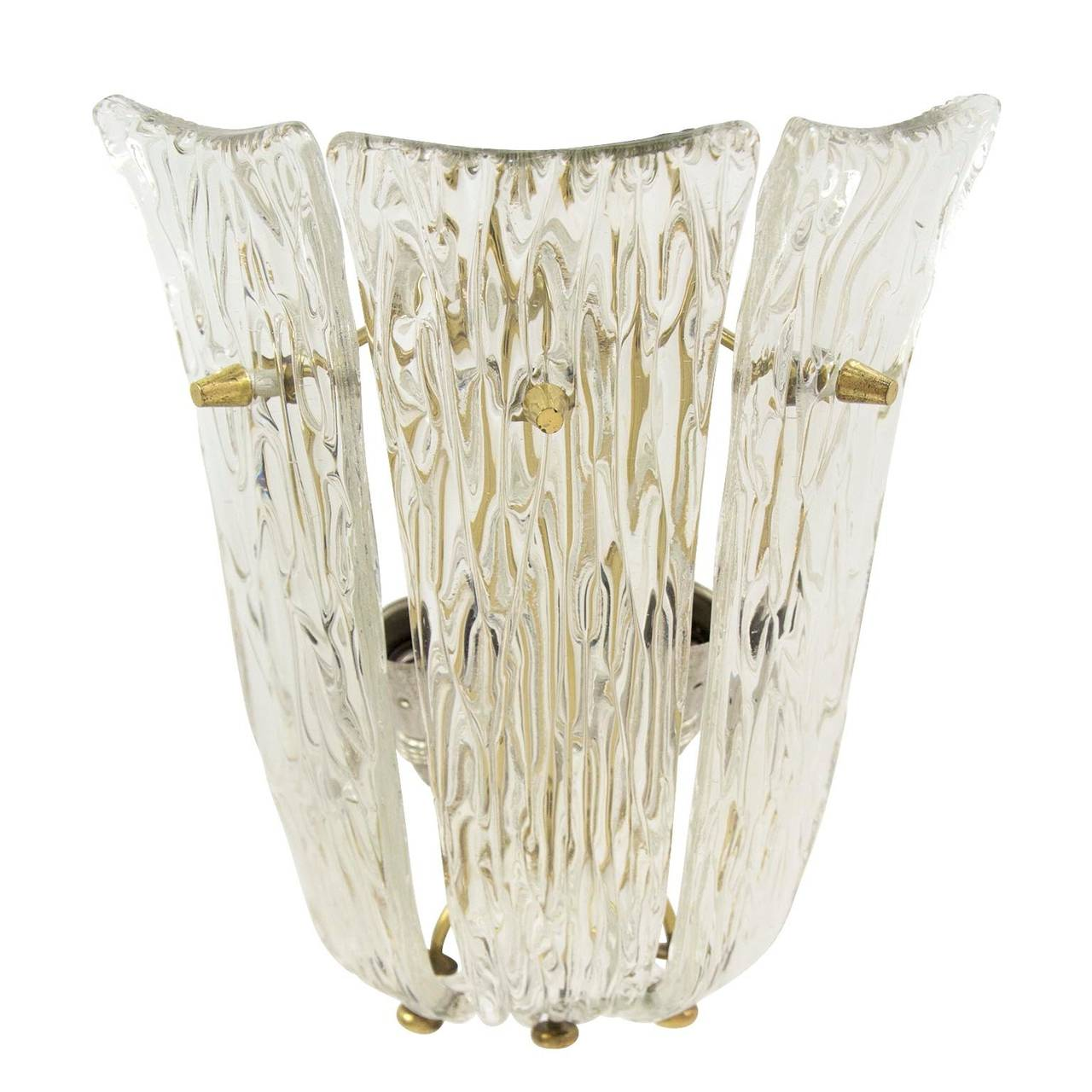 Austrian One of Three Textured Glass And Brass Wall Sconces by J.T. Kalmar, 1950s For Sale