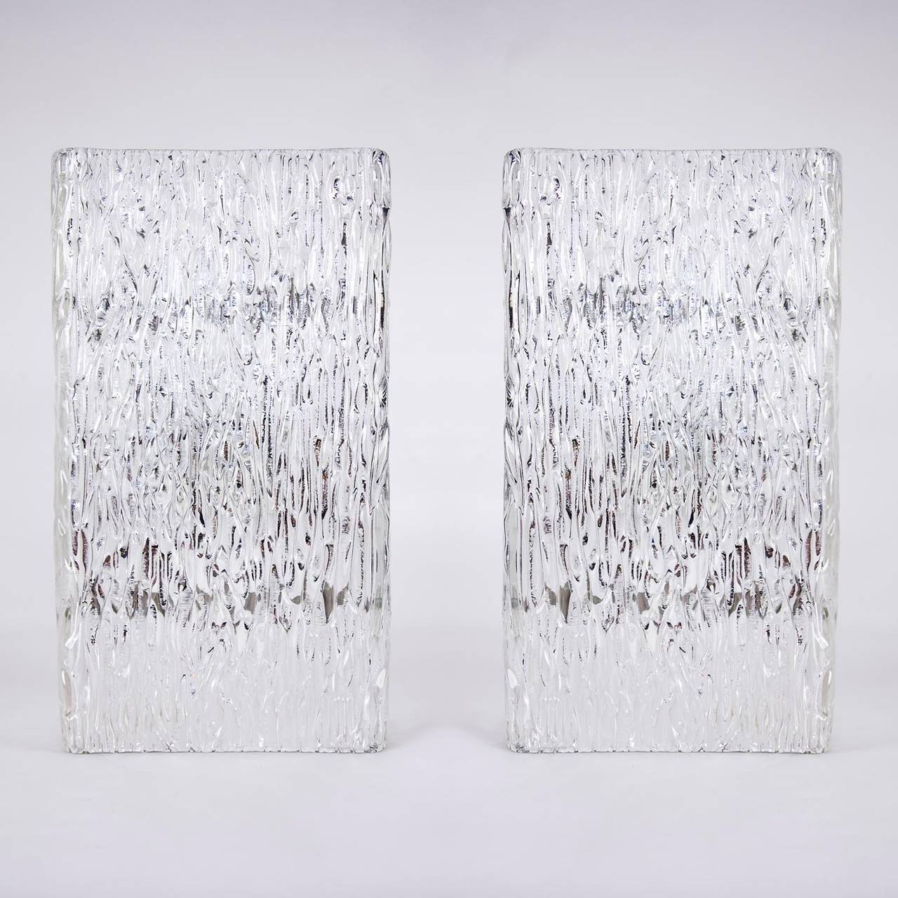 Austrian Pair of Large Kalmar Glass Sconces or Wall Lights , 1950s For Sale
