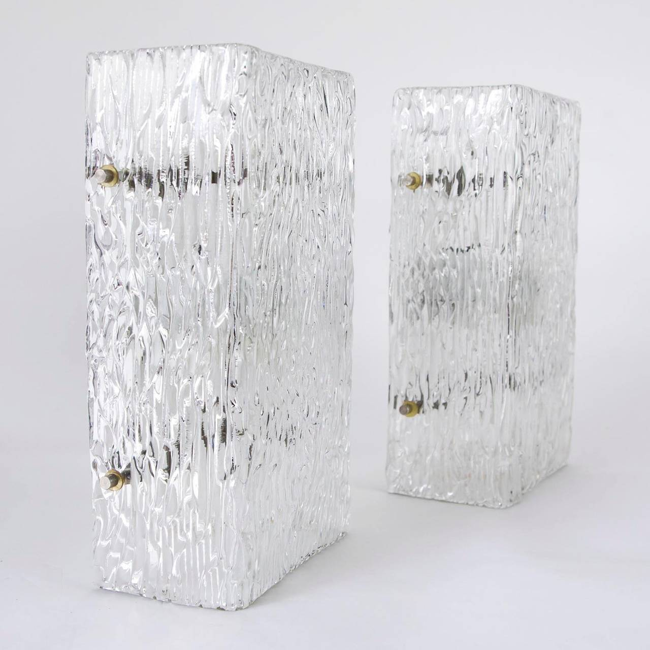 Mid-Century Modern Pair of Large Kalmar Glass Sconces or Wall Lights , 1950s For Sale