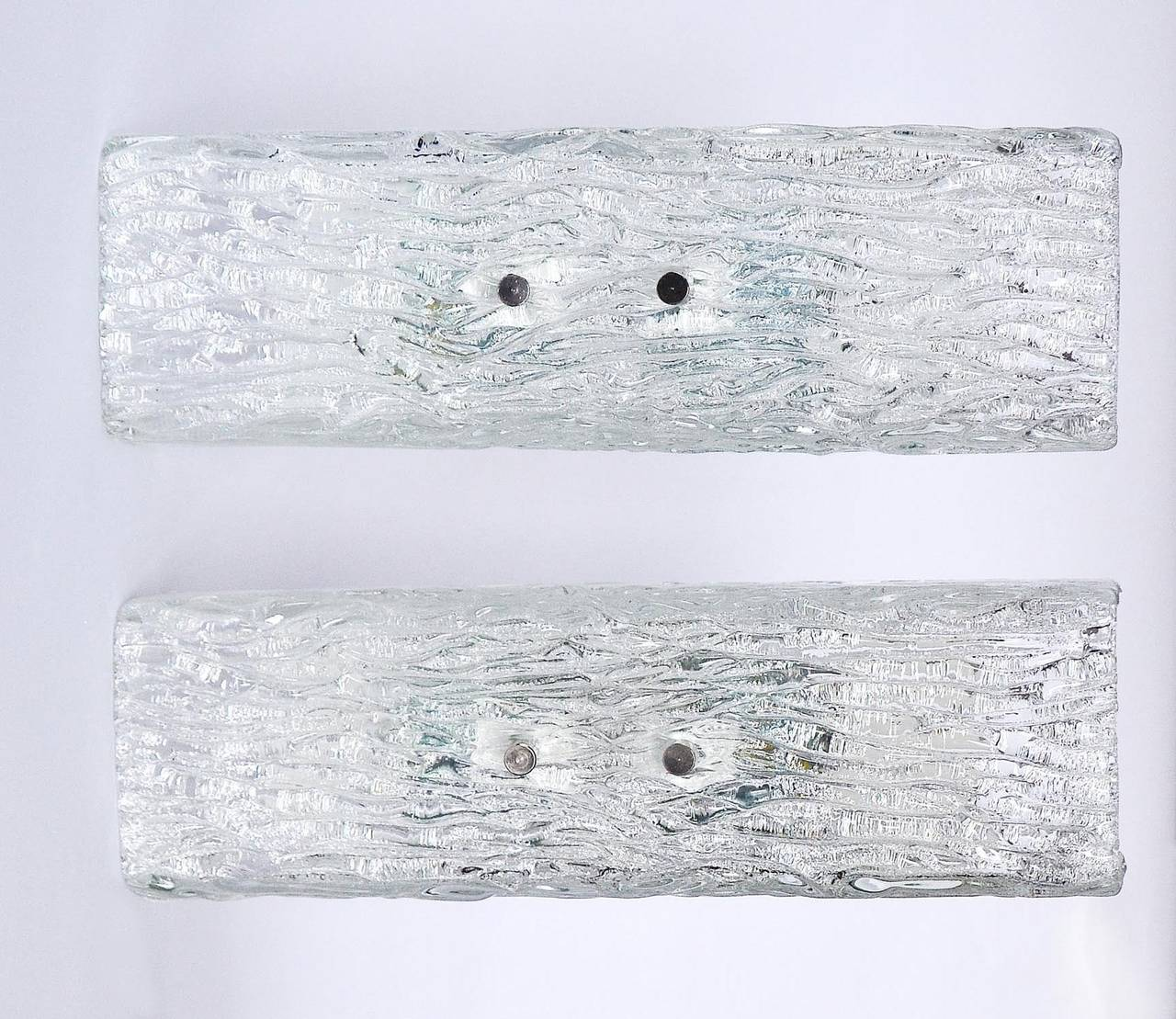 Austrian Pair of Kalmar Glass Sconces or Wall Lights, 1950s For Sale