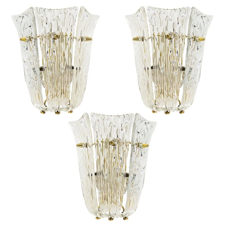 One of Three Textured Glass And Brass Wall Sconces by J.T. Kalmar, 1950s For Sale