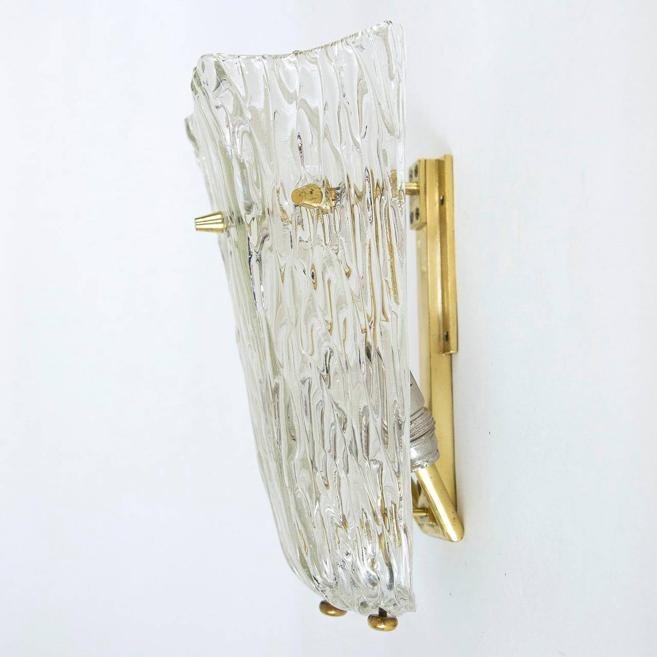One of Three Textured Glass And Brass Wall Sconces by J.T. Kalmar, 1950s For Sale 1