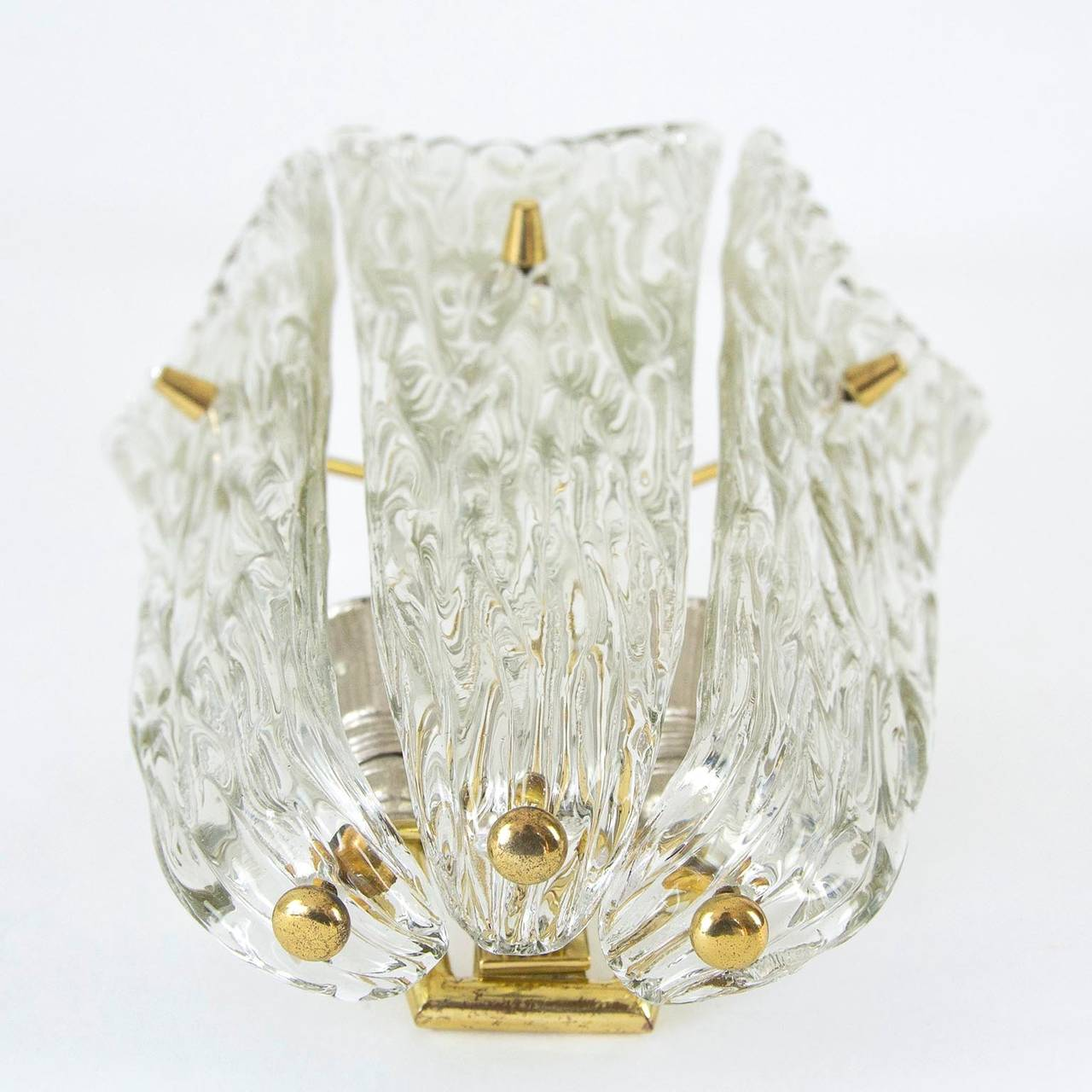 One of Three Textured Glass And Brass Wall Sconces by J.T. Kalmar, 1950s For Sale 2