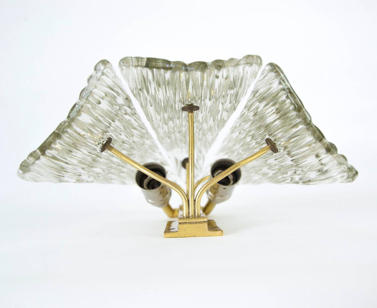 One of Three Textured Glass And Brass Wall Sconces by J.T. Kalmar, 1950s For Sale 3