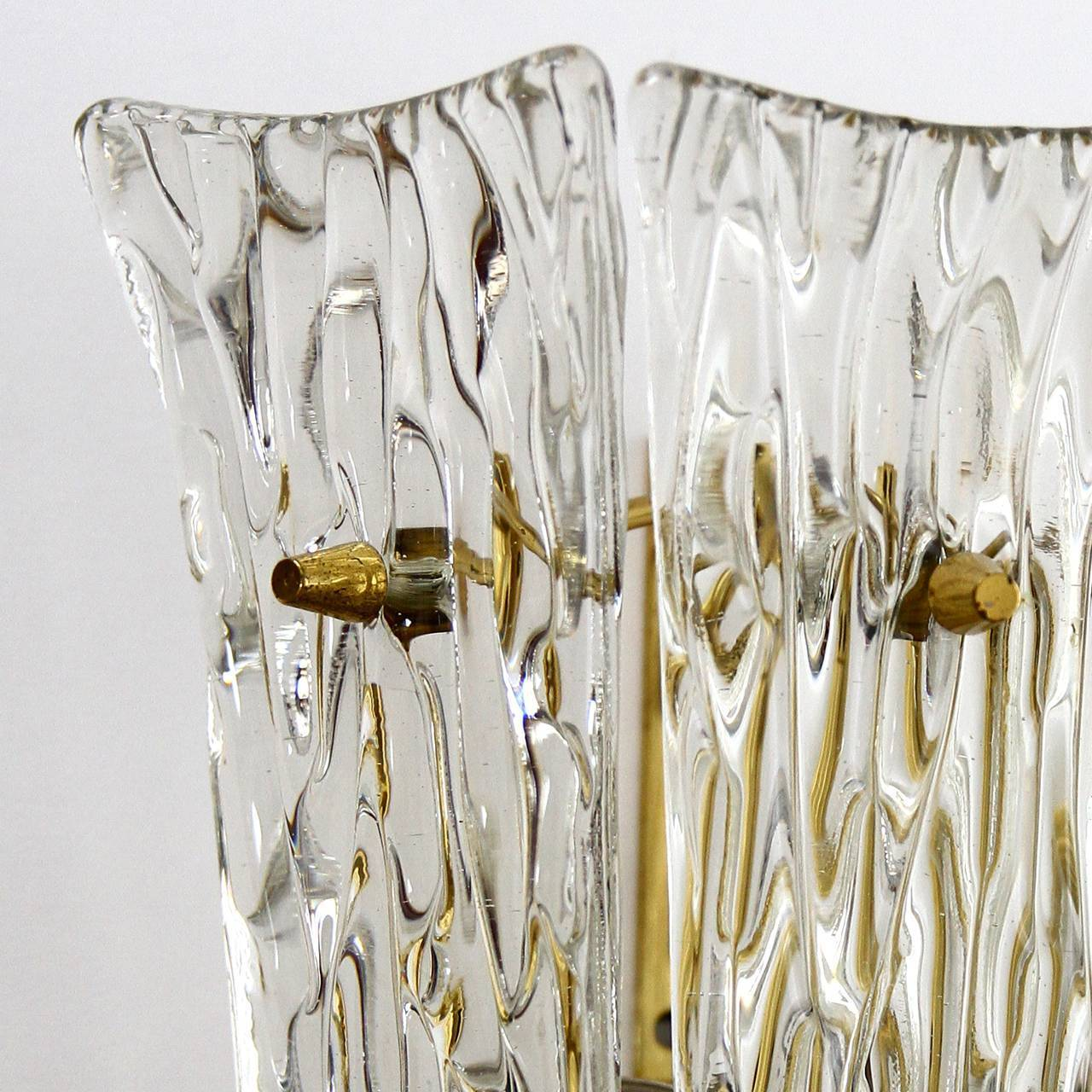 One of Three Textured Glass And Brass Wall Sconces by J.T. Kalmar, 1950s For Sale 4