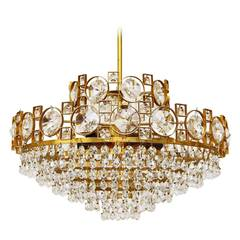 Gilt Brass Sciolari Style Crystal Glass Chandelier or Flush Mount, Italy, 1960s