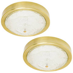 Pair of Large Kalmar Sconces or Flush Mount Lights, Glass Brass, 1960s