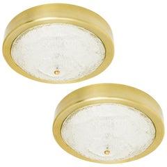 Two Large Kalmar Sconces or Flush Mount Lights, Glass Brass, 1960s