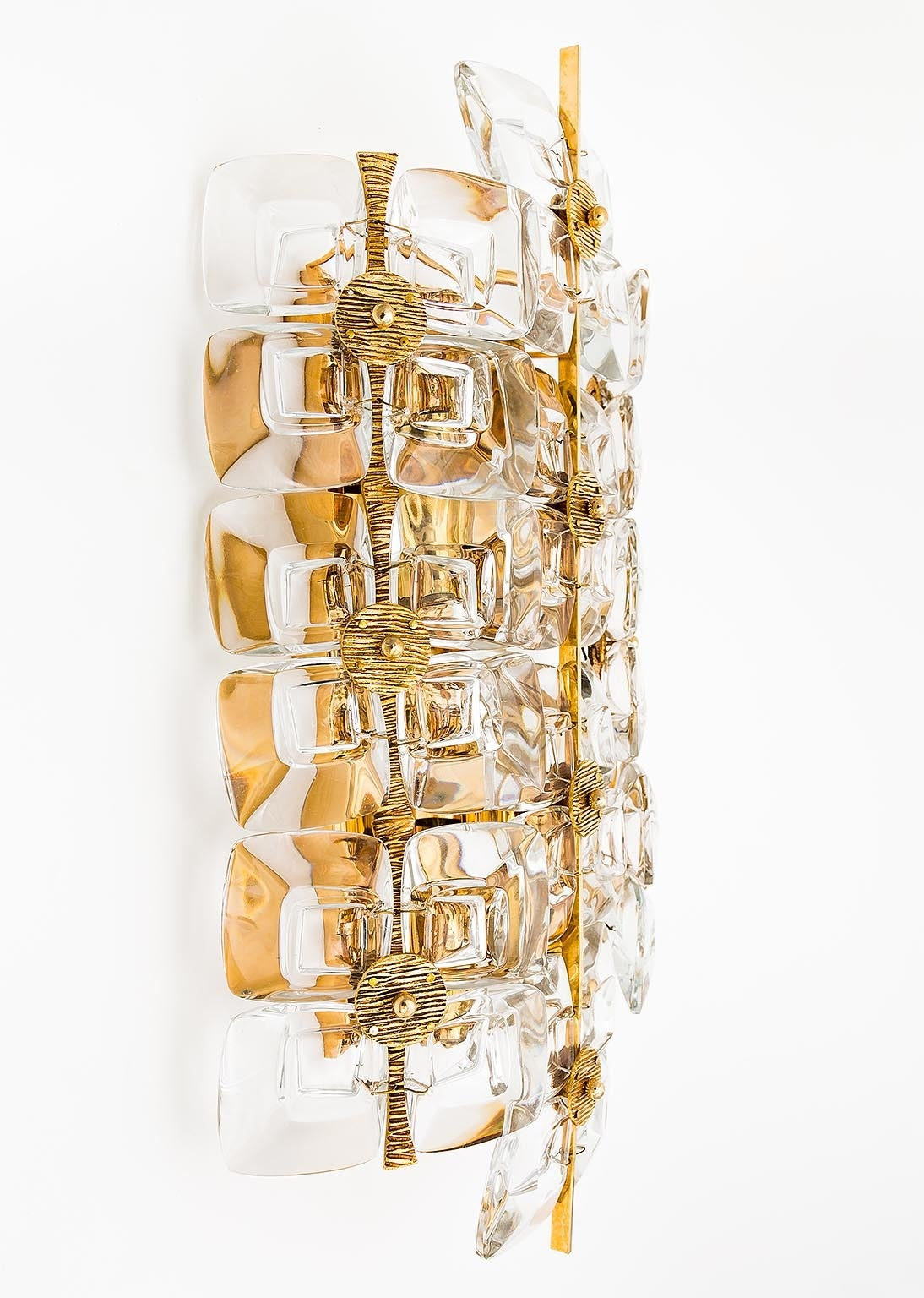 Gold Glass Wall Lights : Large Gold-Plated Brass and Glass Brutalist Wall Light Sconce by Palwa, 1960s For Sale at 1stdibs