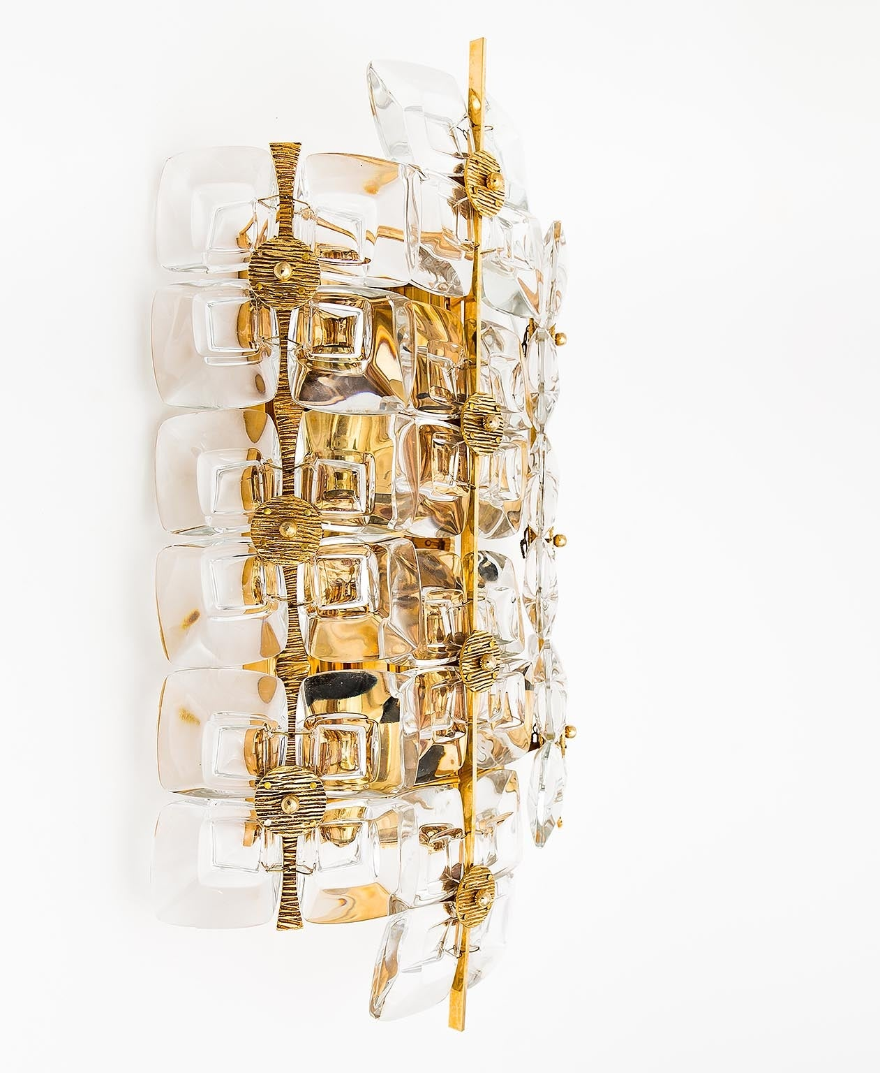 Large Gold-Plated Brass and Glass Brutalist Wall Light Sconce by Palwa, 1960s For Sale at 1stdibs