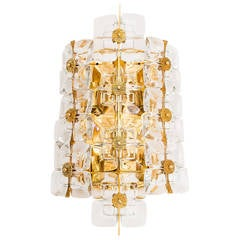 Large Gold-Plated Brass and Glass Brutalist Wall Light Sconce by Palwa, 1960s