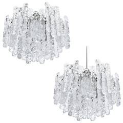 Pair of Kalmar Ice Glass Chandeliers or Flush Mount Light Fixtures, 1960s