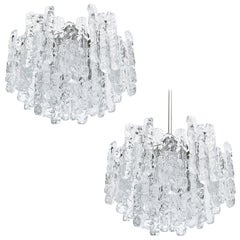 Two Kalmar Ice Glass Chandeliers or Flush Mount Light Fixtures, 1960s