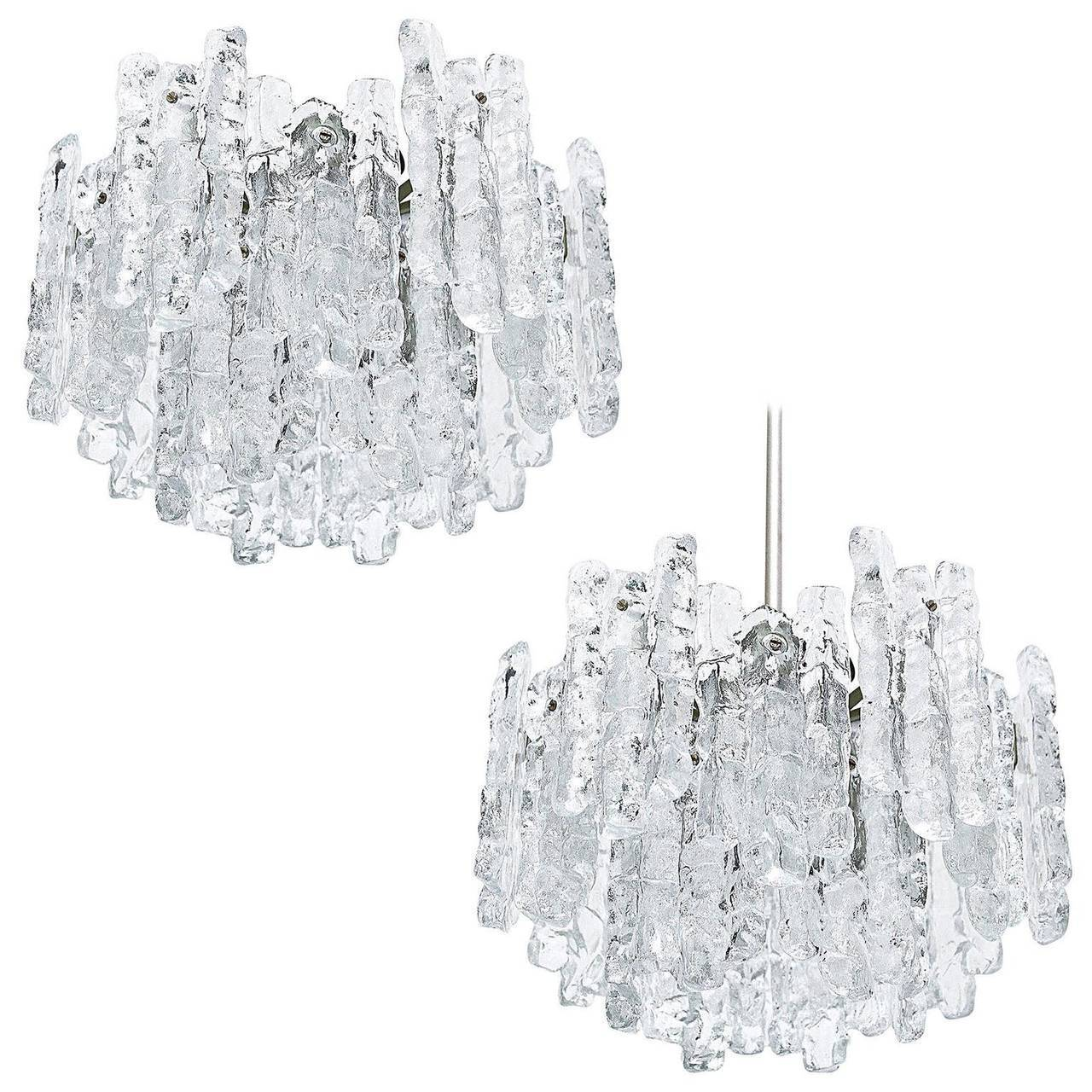 Set Of Three Of Kalmar Ice Glass Chandeliers Or Pendant