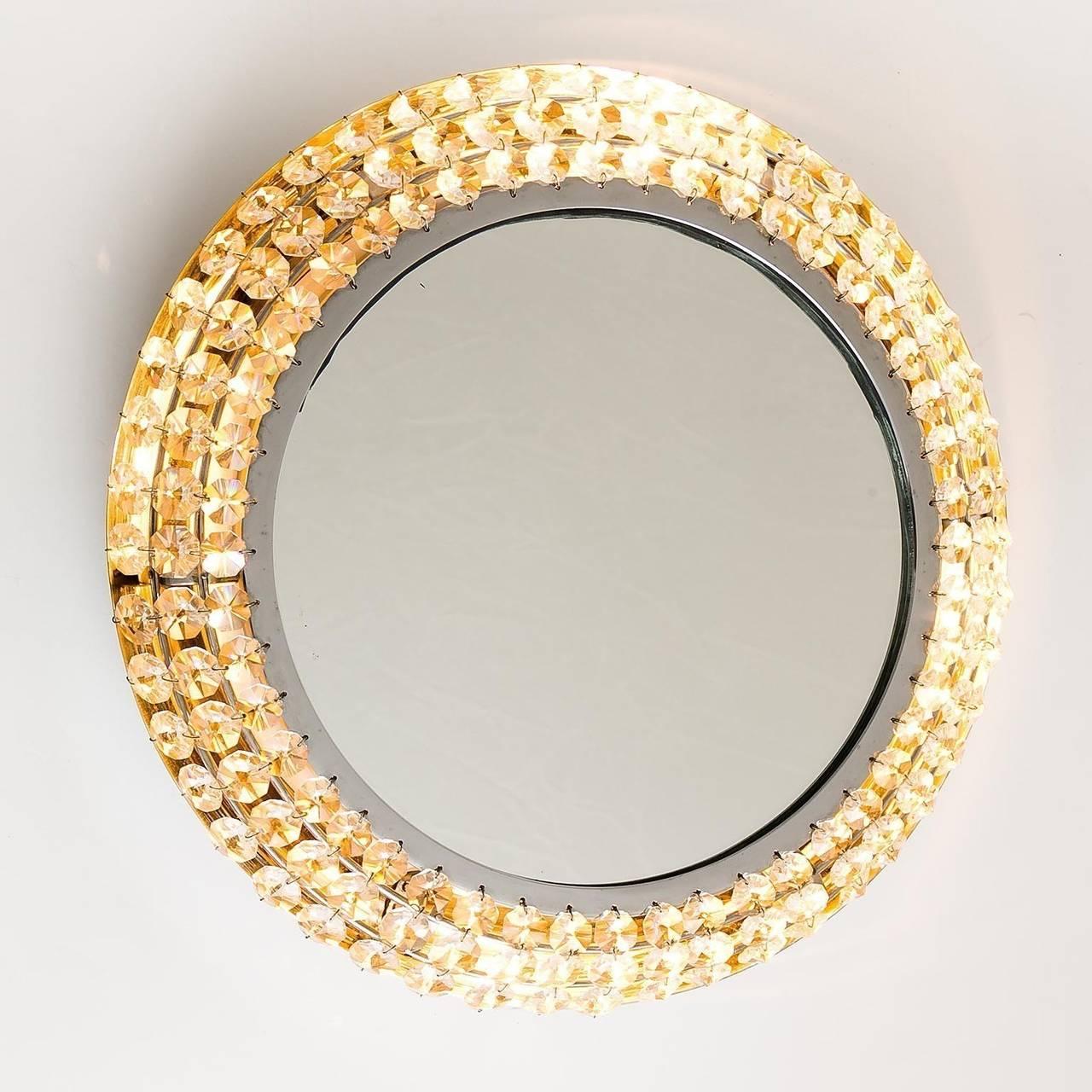 Palwa backlit mirror illuminated crystal nickel chrome for Mirror glass