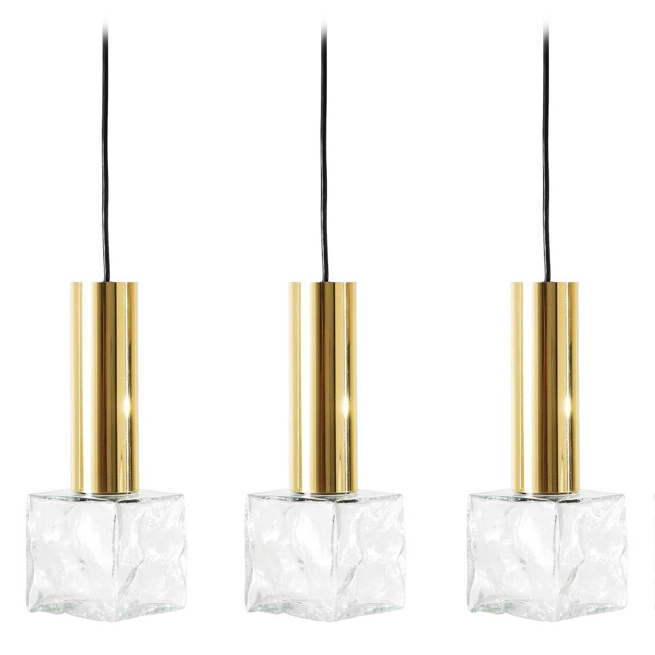 Set Of Three Brass And Ice Glass Hanging Lamps Pendant