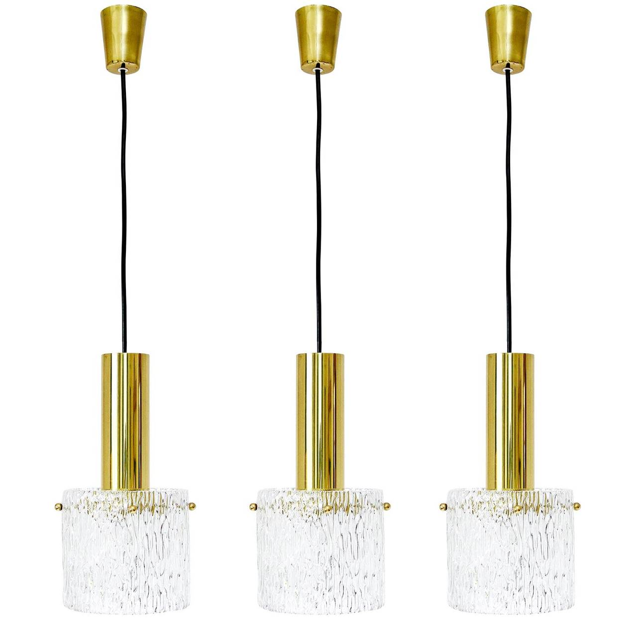 Set Of Three Glass And Brass Pendant Lights By Kalmar Austria - Set of three pendant lights