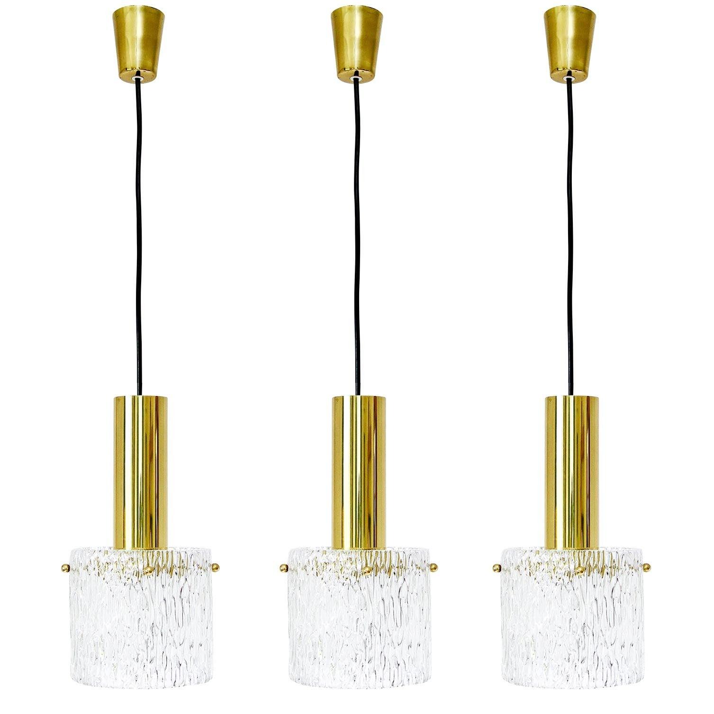 Set of Three Glass and Brass Pendant Lights by Kalmar, Austria, 1950s