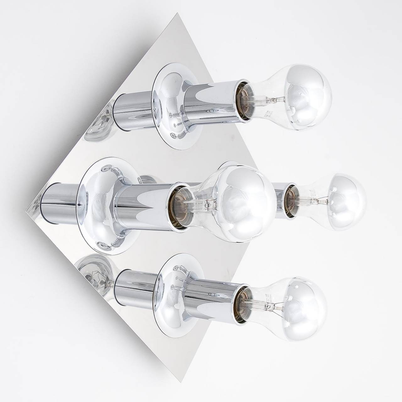 pair of flush mount or wall light fixtures chrome bubble sputnik by cosack 1970s 2