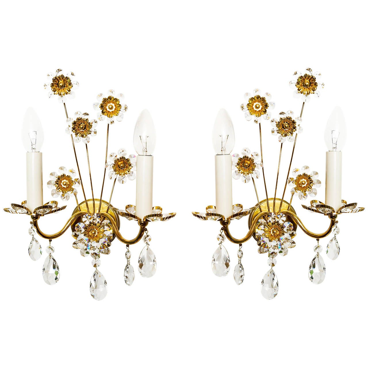 Pair of Floral Sconces Wall Lights by Palwa, Gold Plated Brass Crystal, 1960s at 1stdibs