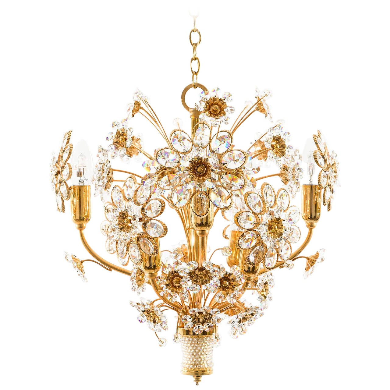 Palwa Pendant Light or Chandelier, Gilt Brass and Glass Crystal, Germany, 1960s
