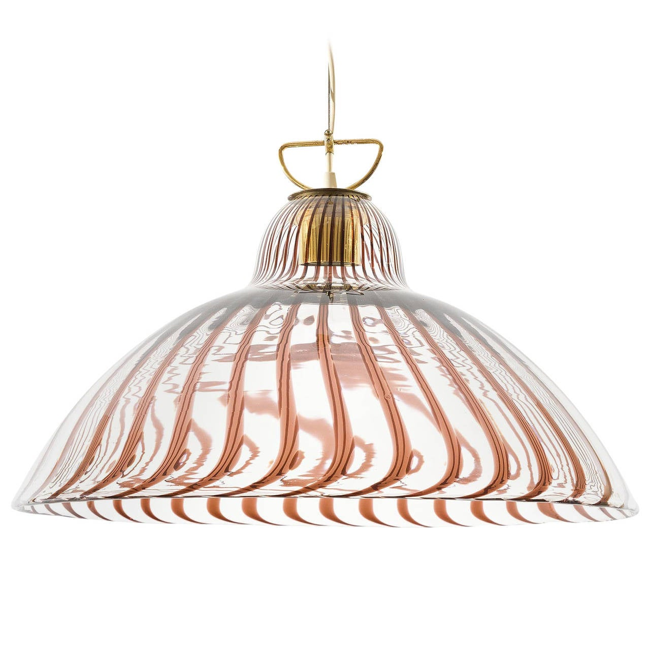 large striped glass and brass pendant light chandelier by
