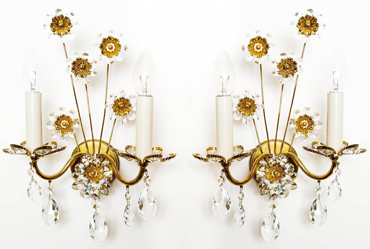 Large Floral Wall Sconces : Large Palwa Floral Sconce Wall Light Gold Plated Brass Crystals, 1960s For Sale at 1stdibs