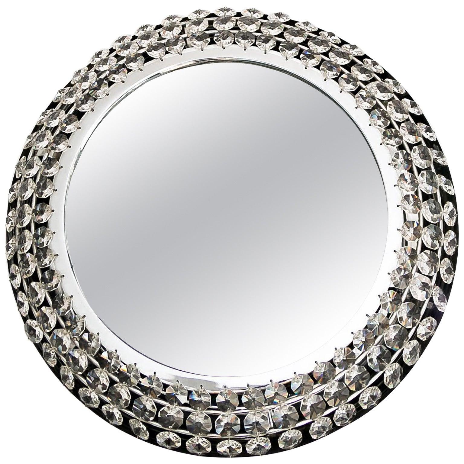 Palwa Backlit Mirror Illuminated Crystal Nickel Chrome Glass, Germany, 1960s