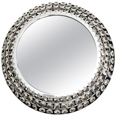 Palwa Backlit Mirror Illuminated Crystal Nickel Chrome Glass, Germany, 1960s