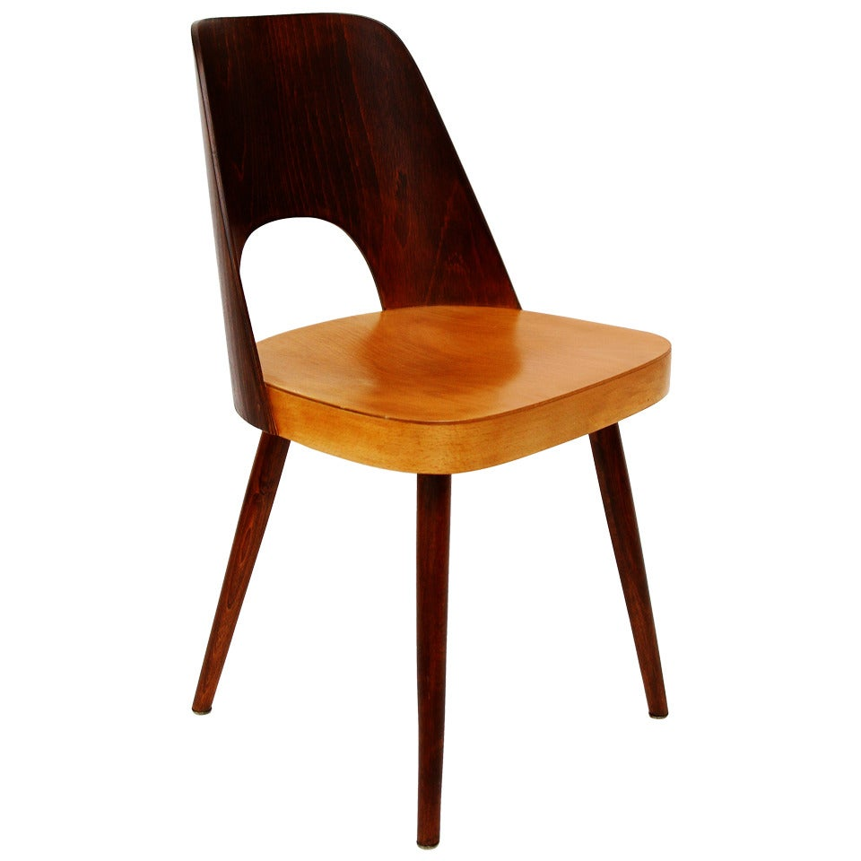 Viennese Bicolored Chair in Beech by Oswald Haerdtl for Thonet, 1950s