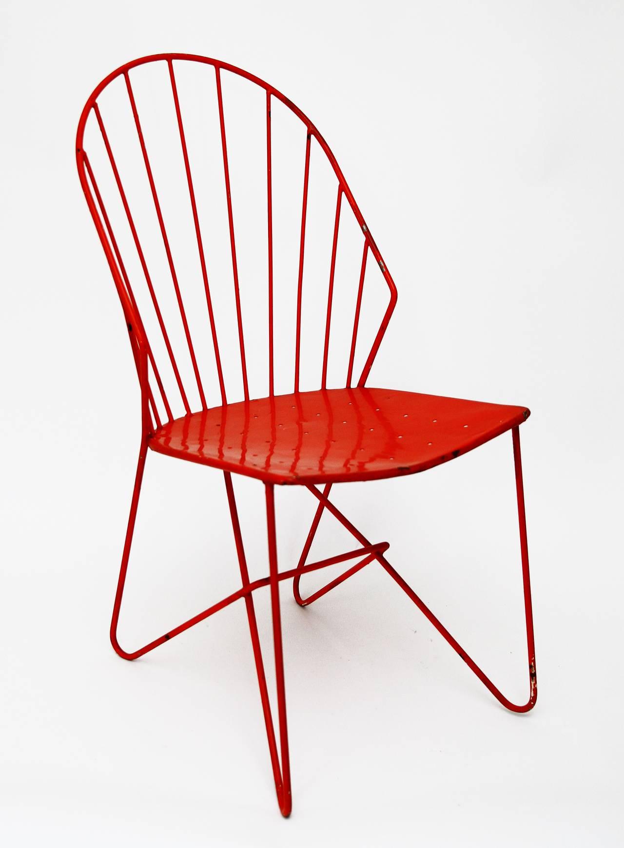 """Four rare Austrian Wire Chairs """"Sonett """" by Karl Fostel Erben"""