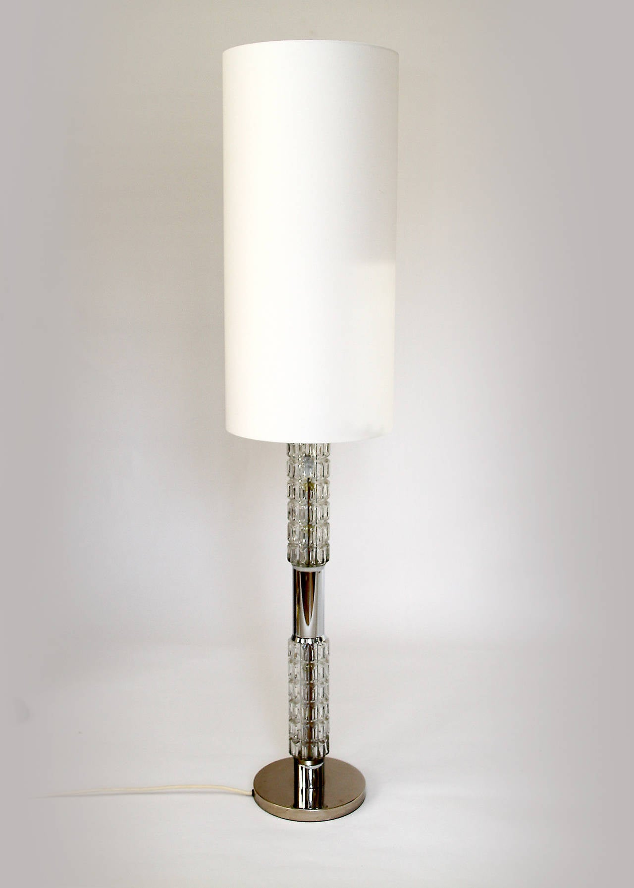 1970s chrome and molded glass floor or table lamp by for 1970s floor lamps