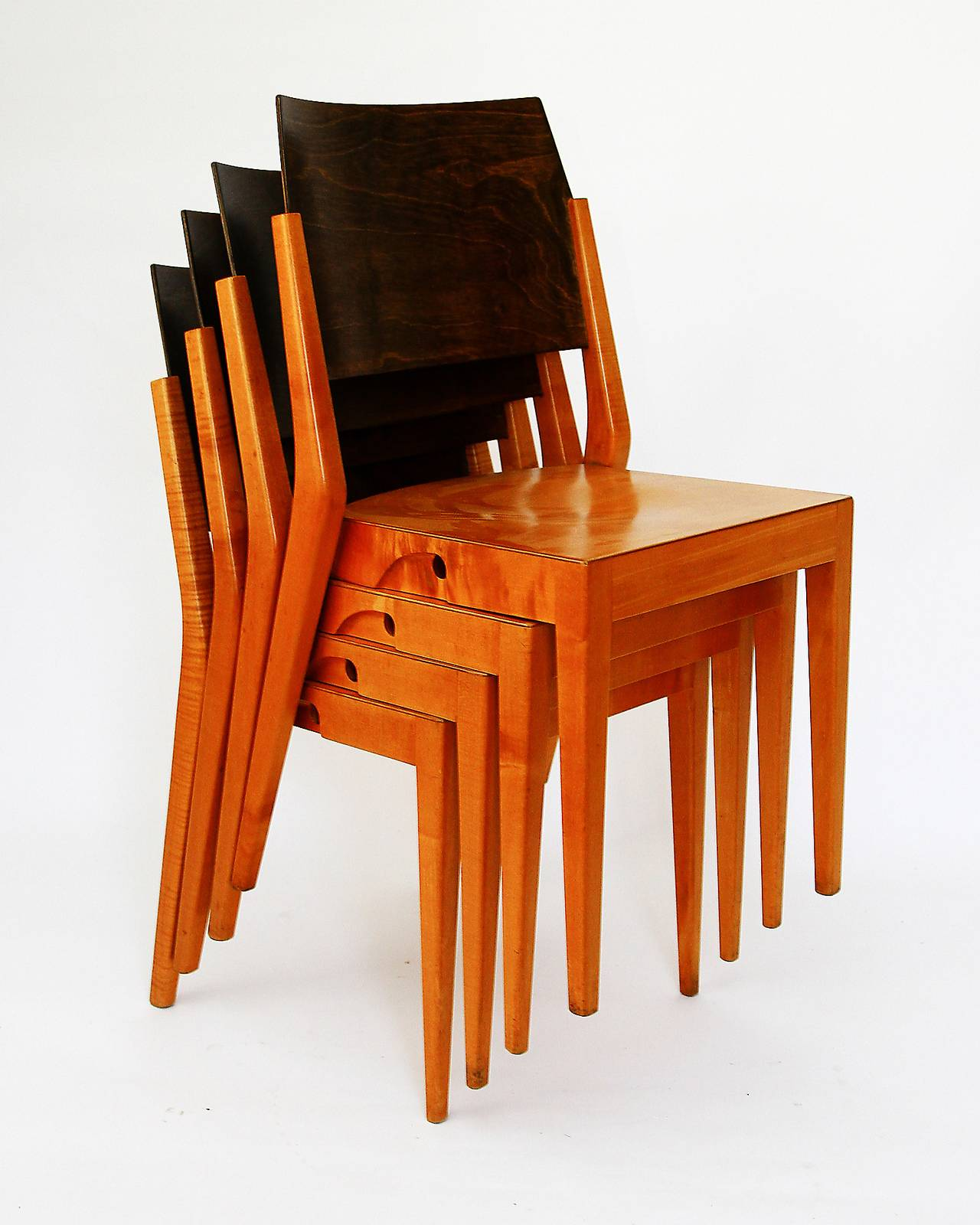 Four Important Austrian Stacking Chairs by Karl Schwanzer 1950s