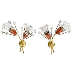 Emil Stejnar Flower Wall Sconces in Glass, Brass, and Copper by Rupert Nikoll