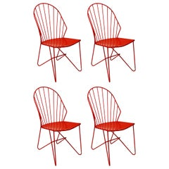 Four Wire Chairs Sonett by Karl Fostel Erben, Austria Vienna, 1950s